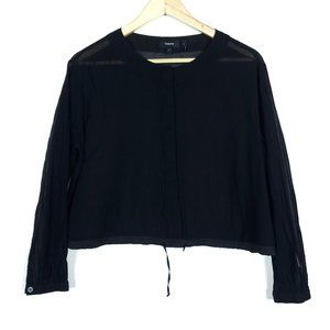 Theory Black Sheer Drawstring Button Up Blouse Top